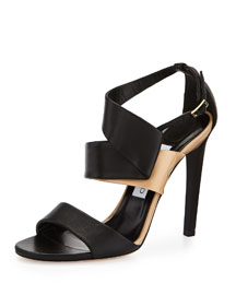 Trapeze Two-Tone Side-Twist Sandal