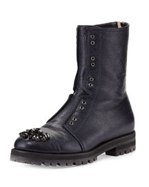 Hatcher Jeweled Combat Boot, Navy