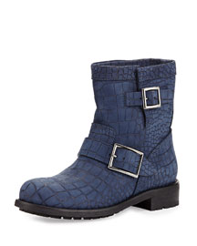 Youth Croc-Embossed Leather Boot, Navy