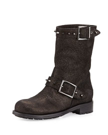 Dash Metallic Spiked Biker Boot, Anthracite