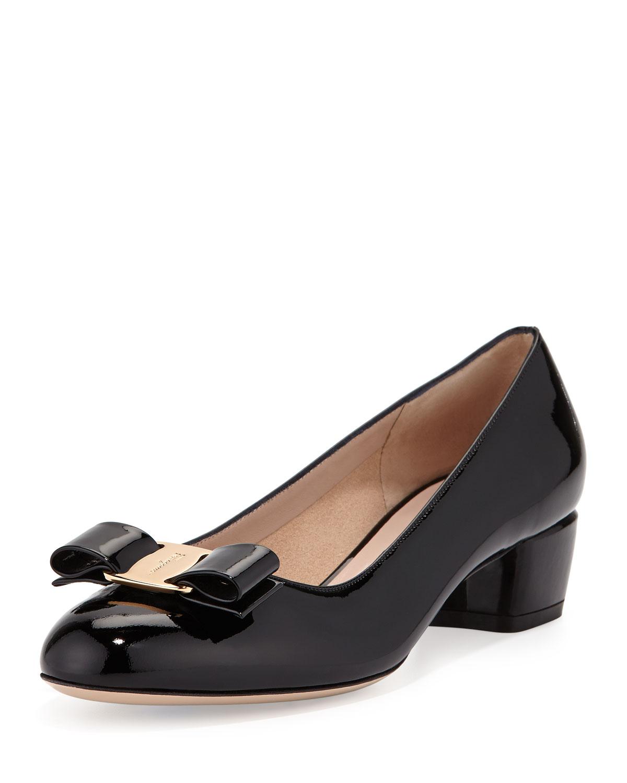 Salvatore Ferragamo Vara 1 Patent Bow Pump, Nero, Women's, Size: 37.5B/7.5B, Black