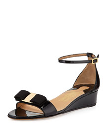 Margot Patent Bow Demi-Wedge, Black