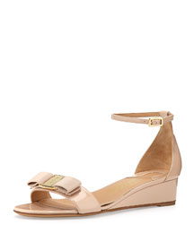 Margot Patent Bow Demi-Wedge, Bisque