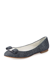 Varina Denim-Suede Bow Flat, Oxford Blue