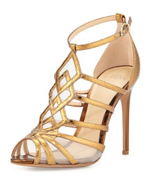 Caged Metallic Snakeskin Sandal