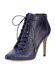 Mally Python Lace-Up Bootie