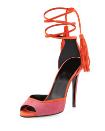 Suede Ankle-Wrap d'Orsay Sandal, Pink/Coral