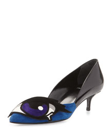Suede & Leather Eye Applique Kitten Pump, Blue