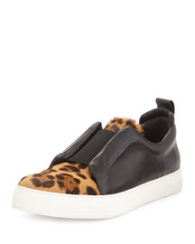 Leopard-Print Calf Hair & Leather Sneaker