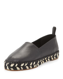 Lambskin Leather Flat Espadrille