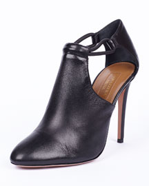Darling Leather Side-Cutout Bootie, Black