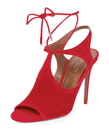 Joanna Cutout Wrap-Around Ankle Bootie, Red