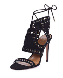 Rebel Studs Disc-Studded Caged Sandal, Black