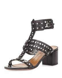 Rebel Studded Leather Sandal, Black