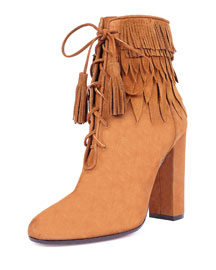 Woodstock Fringe Lace-Up Bootie, Cognac
