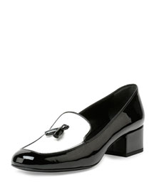 Colorblock Patent Leather Tassel Loafer