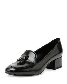 Leather Block-Heel Tassel Loafer