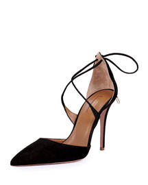 Matilde Crisscross Tie-Back Point-Toe Pump, Black
