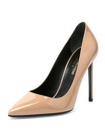 Paris Patent Leather Pump, Nude
