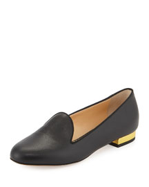 ABC Metallic-Heel Loafer Flat