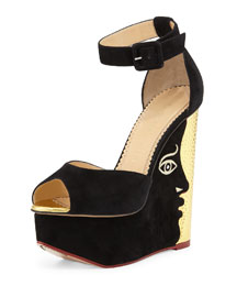 Two-Faced Suede & Metallic Leather Platform Sandal