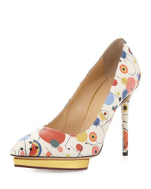 Debbie Geometric-Print Leather Pump