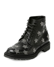 Star-Studded Leather Combat Boot