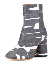 Bicolor Printed Tumbled Leather Mid-Calf Boot