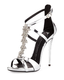 Jewel-Embellished Metallic Evening Sandal, Silver
