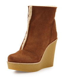 Gwen Shearling Crepe Wedge Bootie