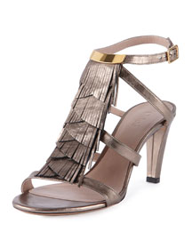 Daniella Crisscross Fringe Leather Sandal