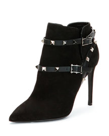 100mm Rockstud Ankle-Strap Suede Bootie