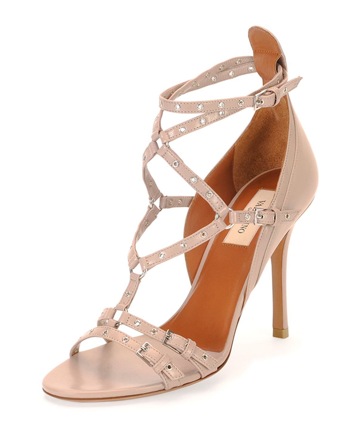 Valentino Love Latch Strappy Grommet Leather Sandal, Poudre, Size: 37.0B/7.0B