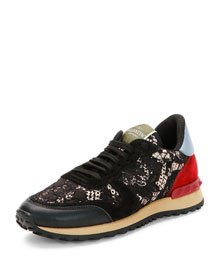 Multicolor Leather-Detailed Lace Sneaker