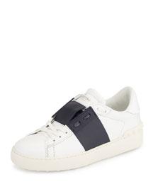 Rockstud Two-Tone Open-Laced Sneaker, White/Navy