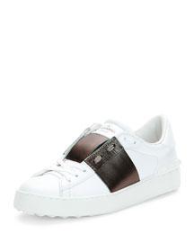 Rockstud Two-Tone Open-Laced Sneaker, White/Gray