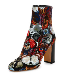 Butterfly-Print Jacquard Mid-Calf Boot