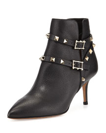 65mm Rockstud Ankle-Strap Leather Bootie