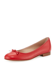 Prep Bow-Detailed Leather Ballerina Flat