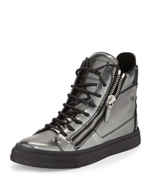 Metallic Leather Double-Zip High-Top Sneaker