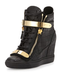 Croc-Embossed Plated Wedge Sneaker