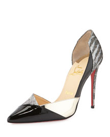 Tac Clac Patchwork Glitter Half d'Orsay Red Sole Pump