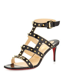 Sexystrapi Jazz Studded-Zip Red Sole Pump, Black