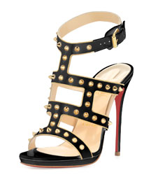Sexystrapi Jazz Studded-Zip Red Sole Pump, Beige/Gold