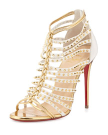Millaclou Studded-Cage Red Sole Sandal, Edelweiss/Gold