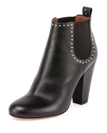 Stretch-Inset Studded Leather Ankle Bootie