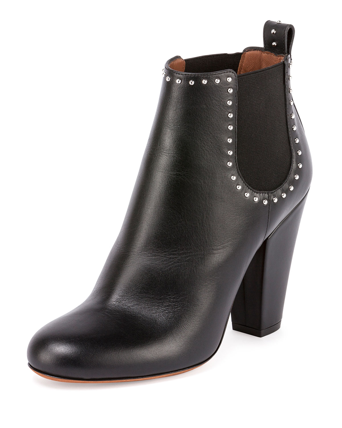 Givenchy Stretch-Inset Studded Leather Ankle Bootie