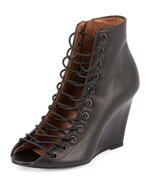 Lace-Front Wedge Bootie, Black