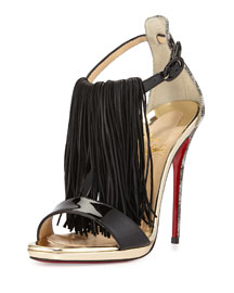 Casanovella Fringe & Glitter Red Sole Sandal