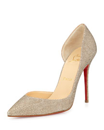 Iriza Half-d'Orsay Glitter Red Sole Pump, Gold